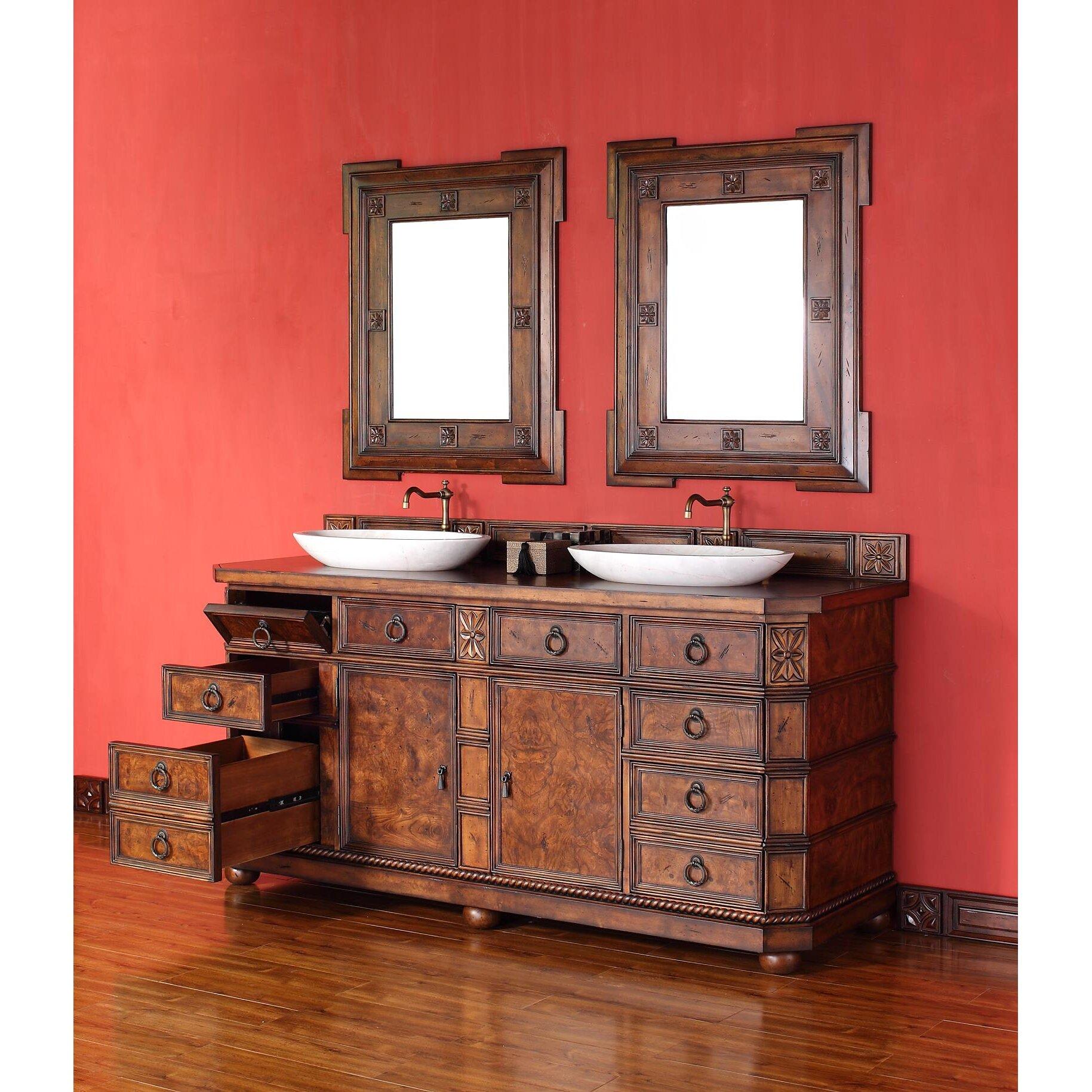 Regent Two Double Bathroom Vanity With Wood Top Wayfair