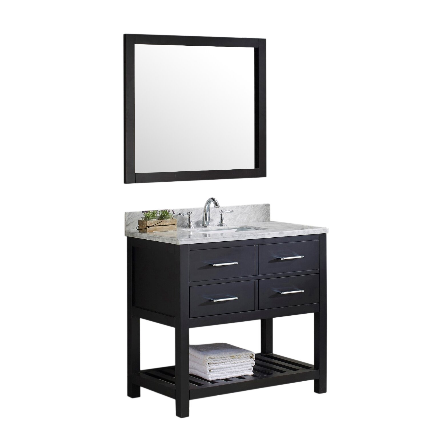 Virtu Caroline Estate  Single Bathroom Vanity Set With Carrara