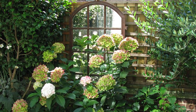 An outdoors mirror hanging on a wooden fence in a garden surrounded by foliage