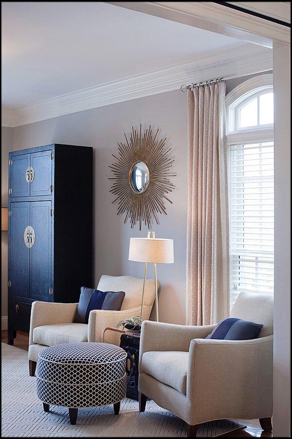 Century furniture, antique asian cabinet, custom ottoman, mirror from Wayfair Contemporary Living Room design
