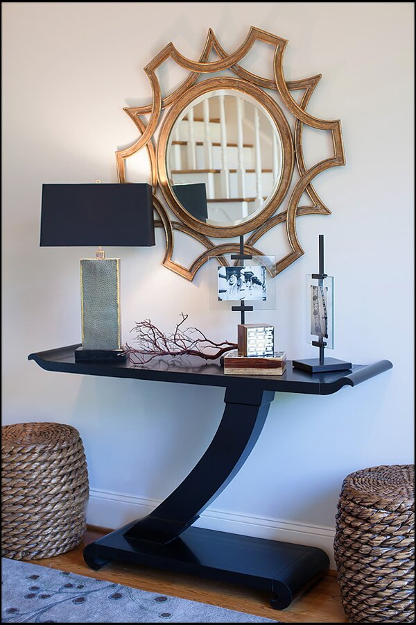 Table from Century, Lamp from Arteriors, mirror from Wayfair, woven stools for CB Contemporary Entryway & Hallway design