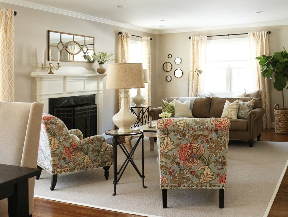 A whimsical and happy space inspired by the English and French countrysides. Cottage/Country Living Room design
