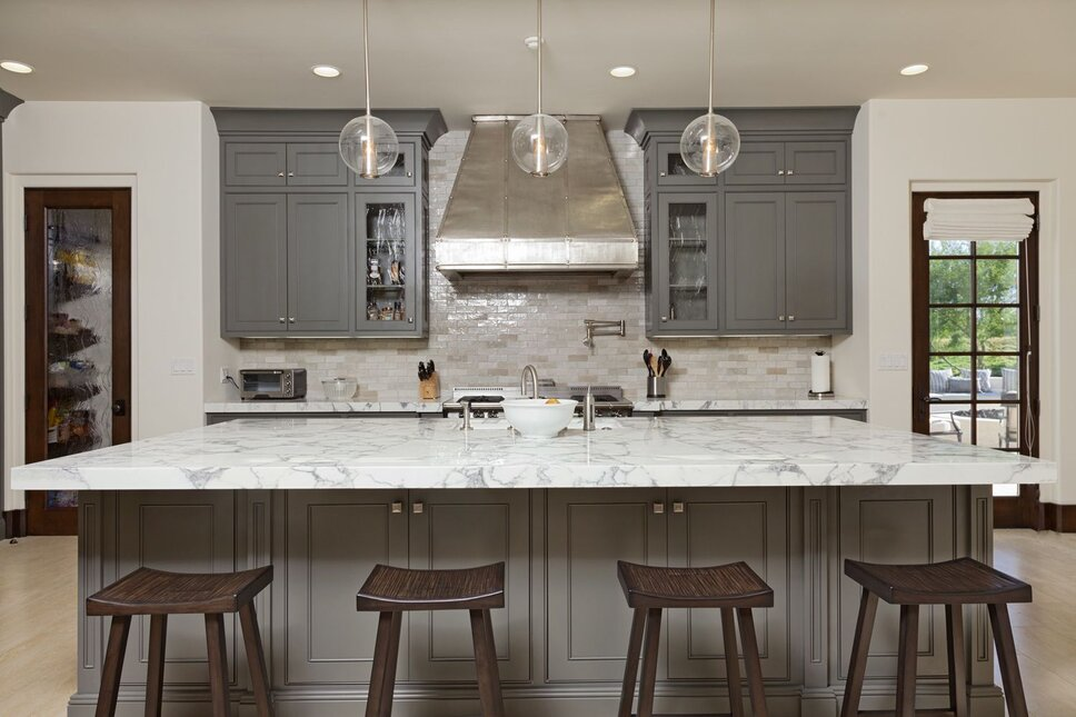 Kitchen, gray, modern appliances, Handmade Hood Photo by Bowman Contemporary Kitchen design