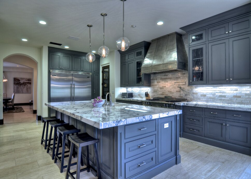 Kitchen, gray, modern appliances, Handmade Hood Photo by Bowman Contemporary Kitchen design