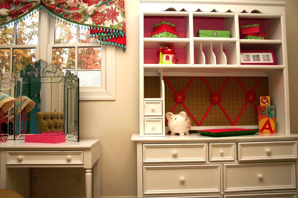 desk, dresser, hutch, tri-fold Venetian mirror all purchased through Wayfair Cottage/Country Kids design