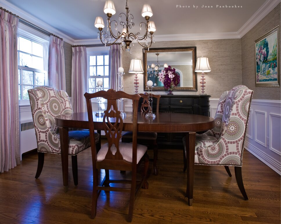 Lexington dining table, Hosts chairs by Designmaster, Divonne dining table, drapery panel fabric by Beacon Hill,  Hosts chair upholstery by Kravet, Custom lamp shades by Lavish Lighting, Shrewsbury, NJ Traditional Dining Room design
