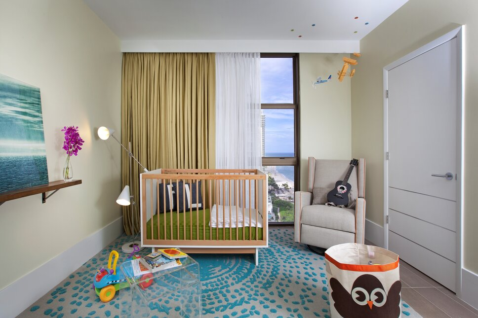 Residential interior design project in Sunny Isles, Florida. Photos by Alexia Fodere. Modern Nursery design