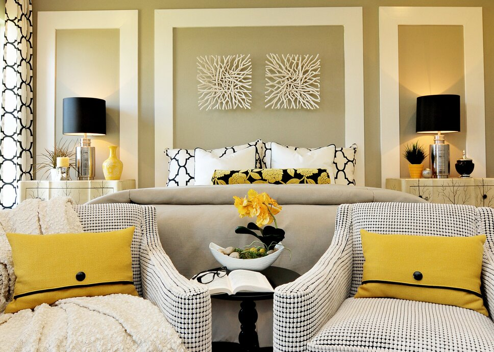 Lemon yellow, crisp white, and bold black combine to create this lively, yet inviting master bedroom. Punctuated by headboard wall detailing of painted flat stock moulding, this bedroom is one of our all-time favorites. Contemporary Bedroom design