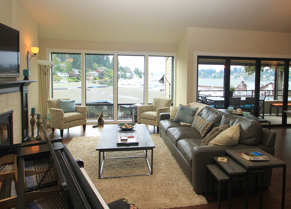 The great room is transformed to a nice comfortable luxurious space. Contemporary Living Room design