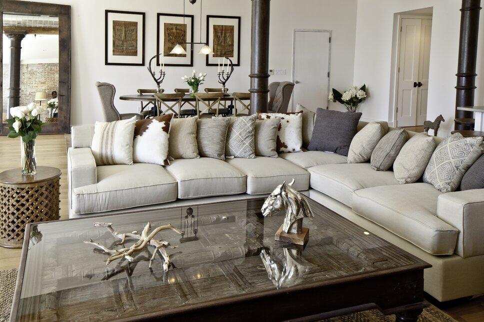 Photography by Francis Augustine Contemporary Living Room design