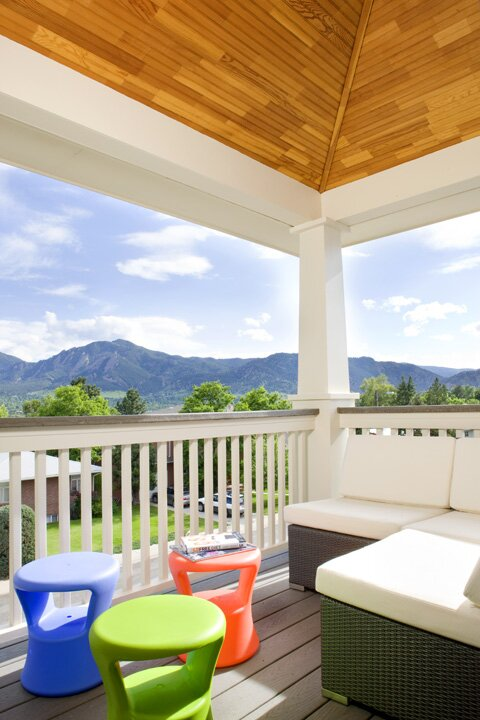 The view of the Flatirons from the Ghayurs birdnest in Boulder, CO. Contemporary Exterior, Deck, & Patio design