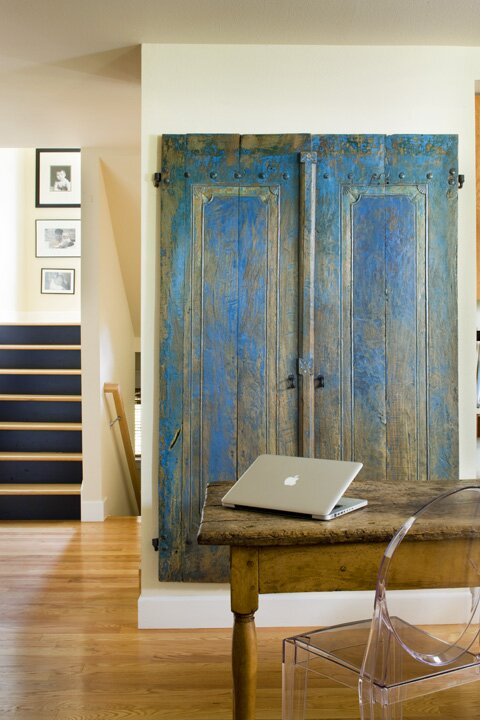 I looked all over the world, ok via internet, for blue doors for their pantry and ended up finding them 10 minutes from their house in Boulder! They didnt even need to be cut down. Destiny. Eclectic Home Office design