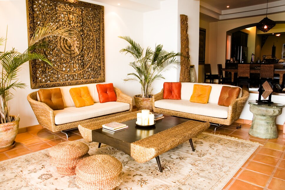 Tropical living room in luxury vacation rental, Baja, Mexico. Coastal Living Room design