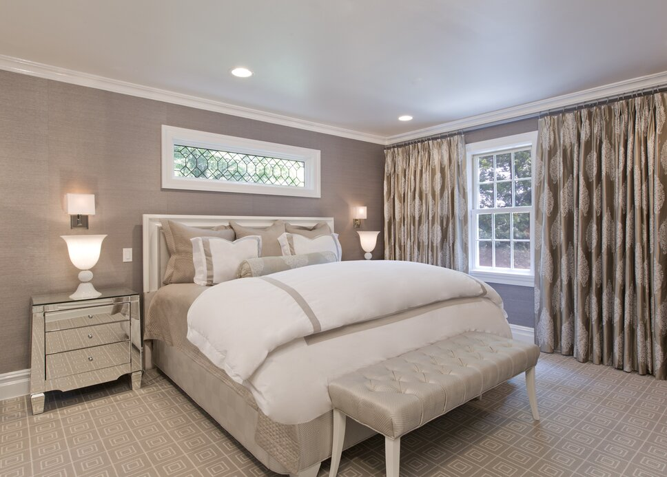 When the homeowners came to me to decorate their master bedroom they knew exactly what they wanted The room must be uncluttered, the furniture must have clean, simple lines, and it must have a monochromatic color palette. And as frequent travelers, this space had to rival in its amenities, comfort, and materials those found in the finest hotels.