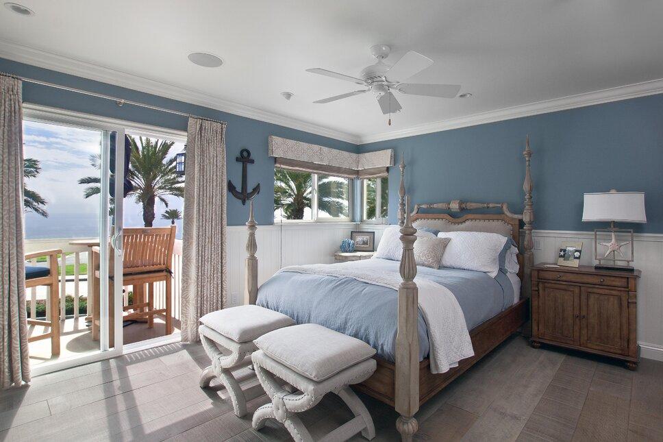 Photography by Ken Henry Coastal Bedroom design