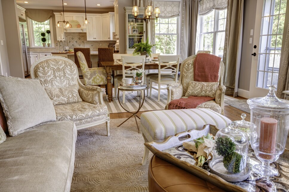 Photography by Kim Veillon for Embellish Interiors Cottage/Country Living Room design