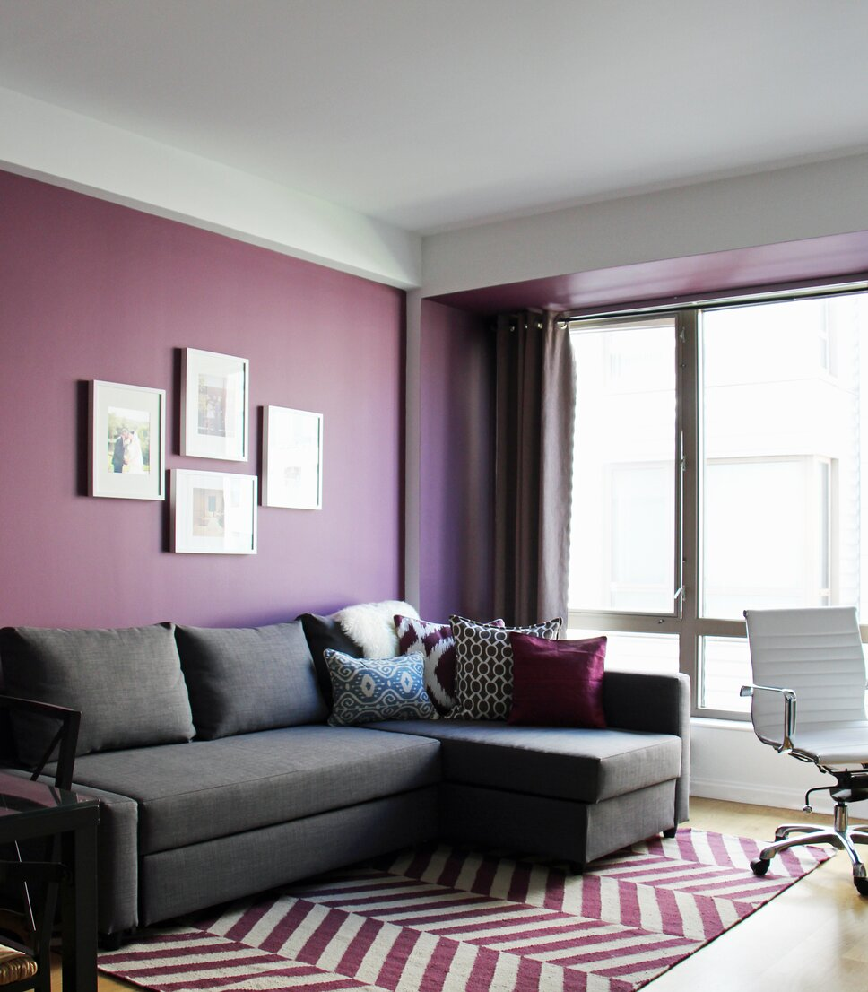 A clean and contemporary purple living room. Contemporary Living Room design