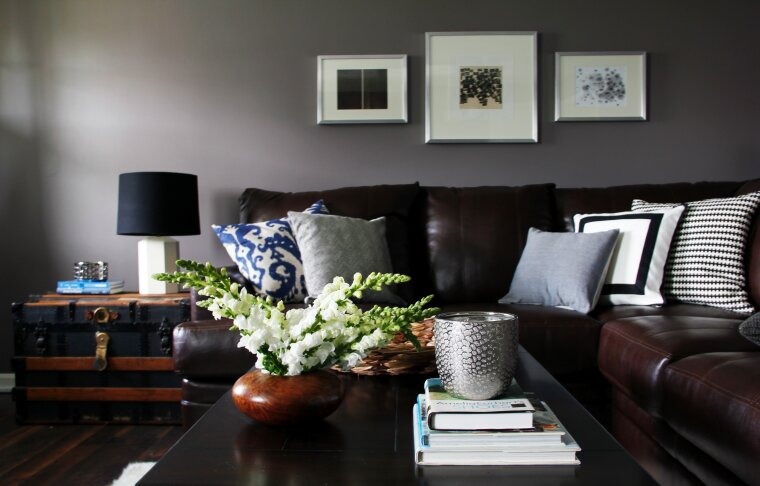 A modern and contemporary living room with earth tones. Contemporary Living Room design