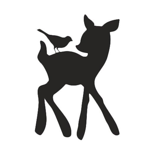 Forest Critter Deer and Bird Chalkboard Wall Decal