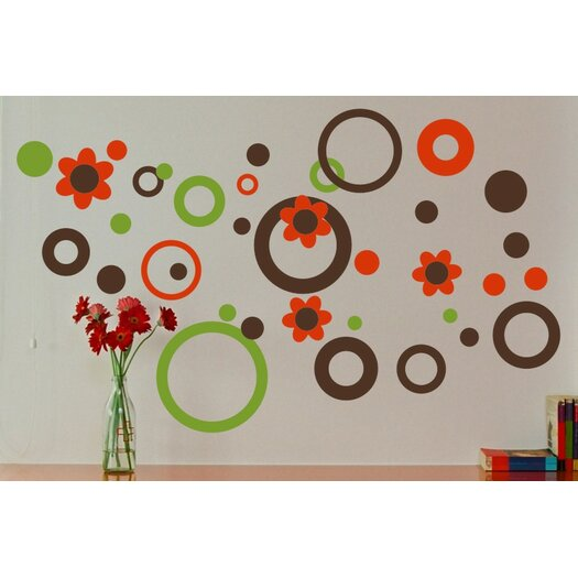 Alphabet Garden Designs Circles Dots And Flowers Wall