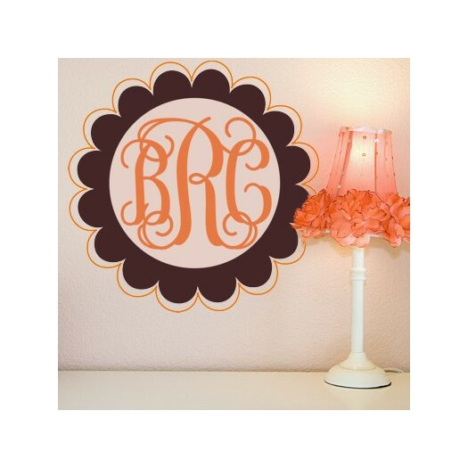Personalized Scalloped Edge Fancy Monogram Wall Decal