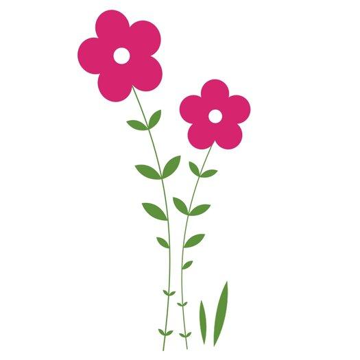 Alphabet Garden Designs Double Flower Vine Wall Decal