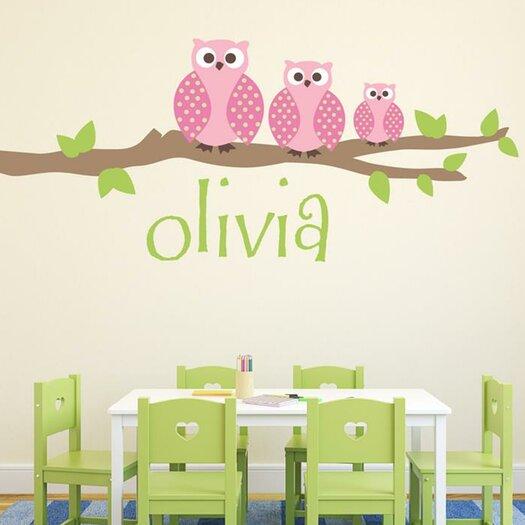 Owl Family Girl Wall Decal