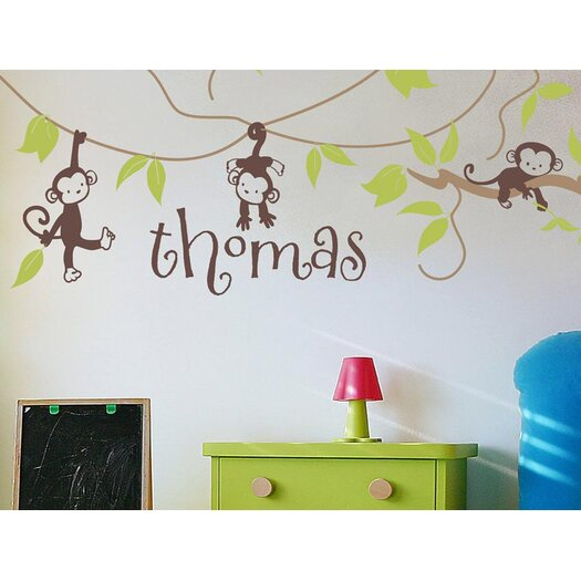 Alphabet Garden Designs Monkey Vines Personalized Wall Decal