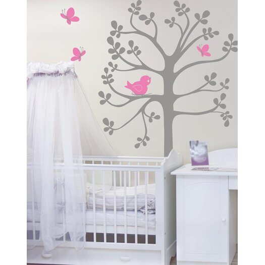 Alphabet Garden Designs Spring Tree Birds and Butterflies Wall Decal