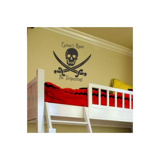 Alphabet Garden Designs Personalized Skull and Swords Wall Decal