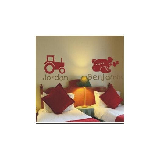 Alphabet Garden Designs Personalized Tractor or Plane Wall Decal