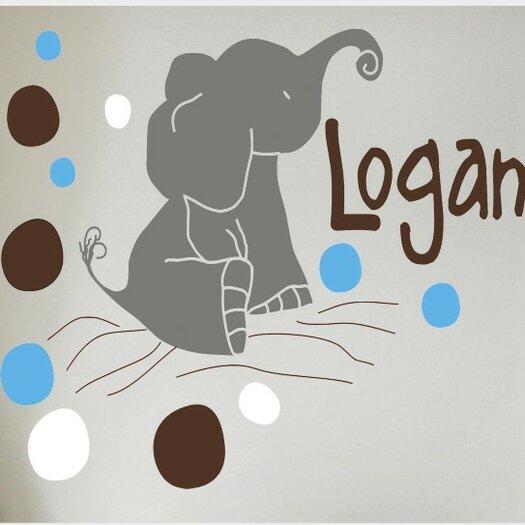 Alphabet Garden Designs Personalized Elephants Wall Decal