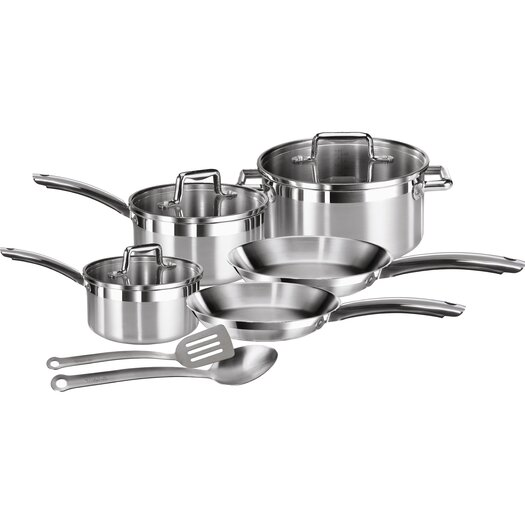 T-fal Elegance Brushed Stainless Steel 10 Piece Cookware Set