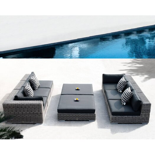 Sunset West Emerald Ottoman with Cushion