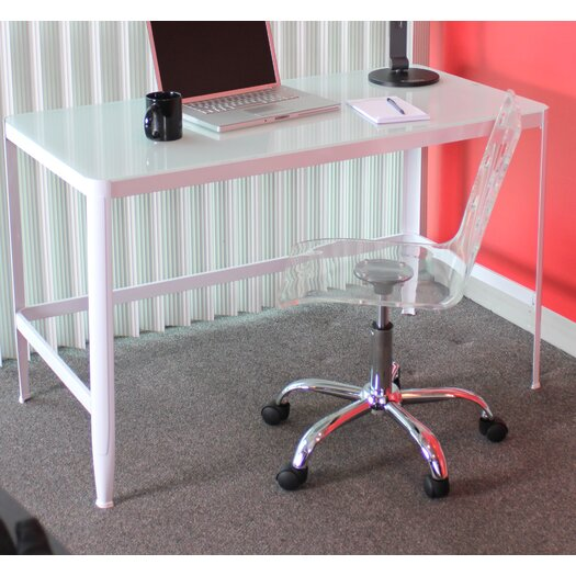 LumiSource Pia Table / Writing Desk with Black Glass