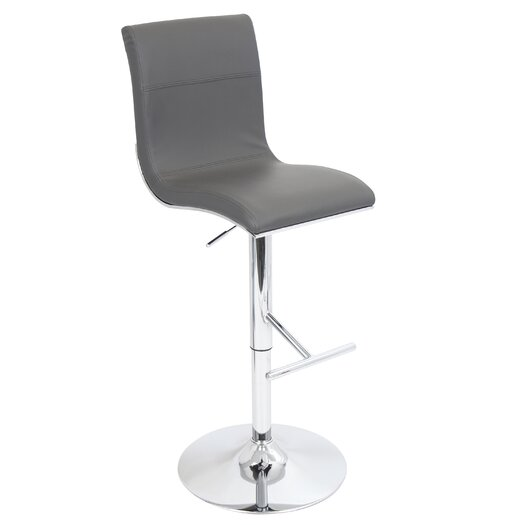 LumiSource Spago Adjustable Height Swivel Bar Stool with Cushion