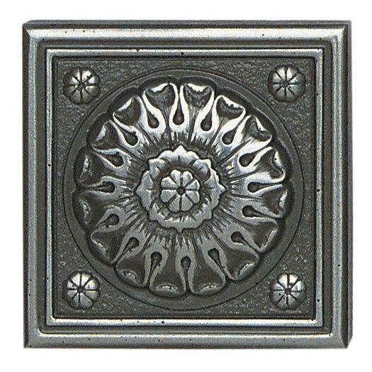 "Daltile Metal Ages 2"" x 2"" Baroque Glazed Decorative Tile Insert in Polished Pewter"