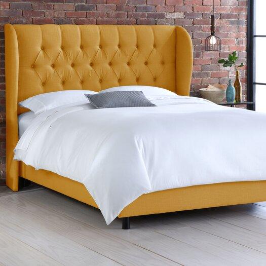 Skyline Furniture Wingback Tufted Linen Diamond Upholstered Panel Bed