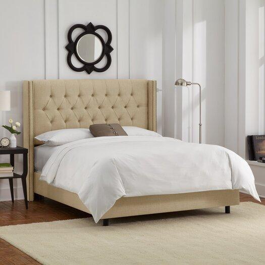 Skyline Furniture Tufted Upholstered Wingback Panel Bed