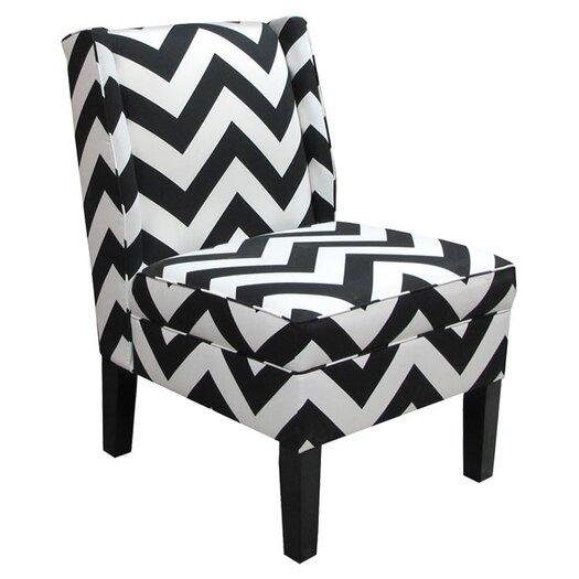 Skyline Furniture Wingback Black Zig Zag Slipper Chair