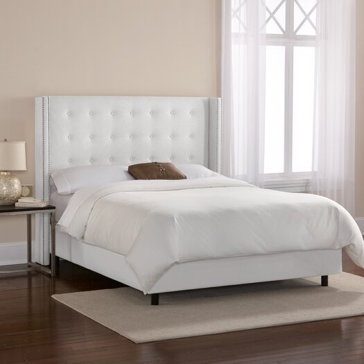 Skyline Furniture Tufted Linen Upholstered Wingback Panel Bed