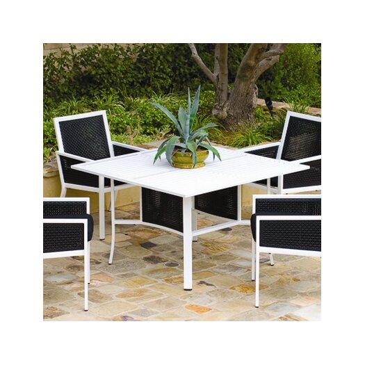 Koverton Parkview Woven Square Dining Table with Umbrella Hole