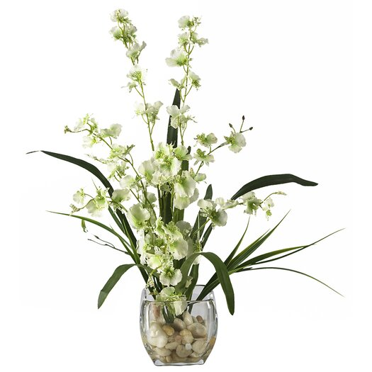 Nearly Natural Liquid Illusion Dancing Lady Silk Orchids in Green with Vase