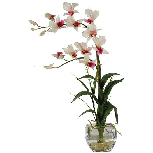 Nearly Natural Silk Dendobrium Flowers in Vase