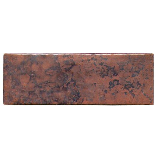 """D'Vontz Plain Hammered 6"""" x 2"""" Copper Border Tile in Dark Copper"""