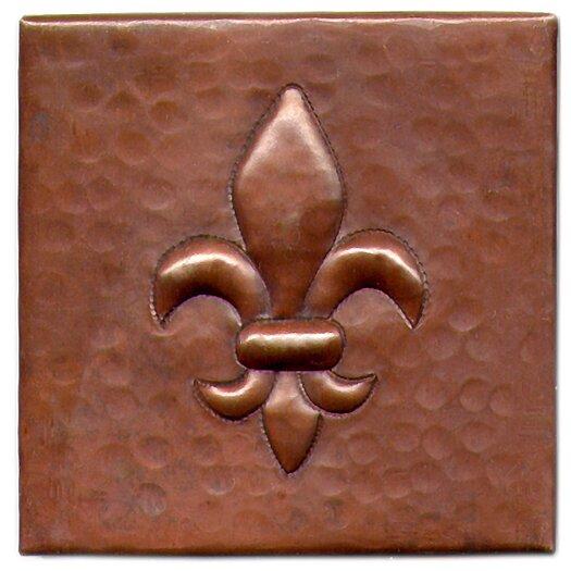 """D'Vontz Fleur De Lis 4"""" x 4"""" Copper Tile in Dark Copper"""