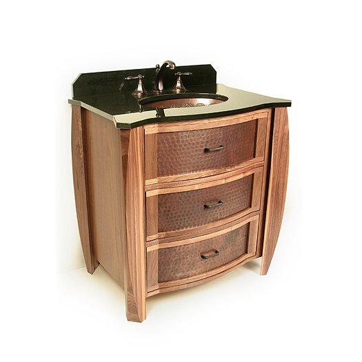"""D'Vontz Vanities 32"""" Single Bombay Copper Front Cabinet Bathroom Vanity Set"""