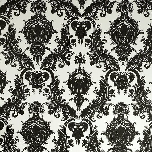 "Tempaper Damsel Temporary 33' x 20.5"" Damask Foiled Wallpaper"