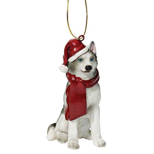 Design Toscano Siberian Huskey Holiday Dog Ornament Sculpture