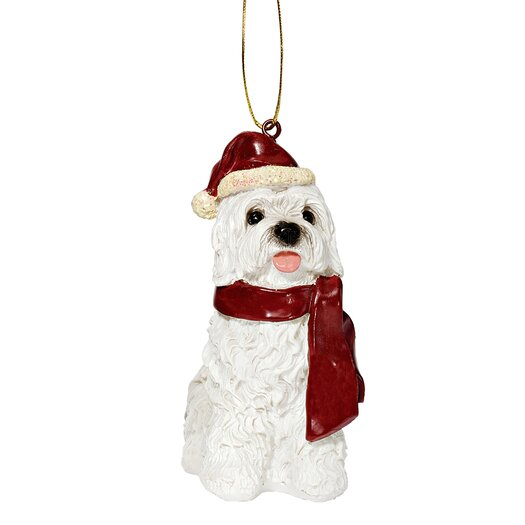 Design Toscano Maltese Holiday Dog Ornament Sculpture